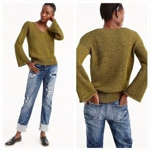 J. Crew Olive Green Flared Sleeve Sweater